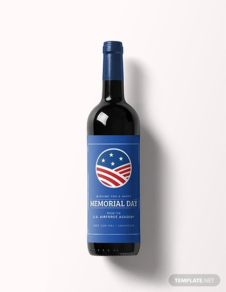 free memorial day wine label template