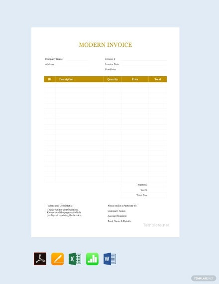 free modern invoice template