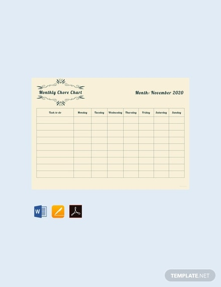 free monthly chore chart template