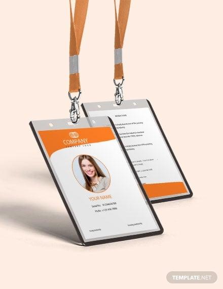 free professional id card template 1x
