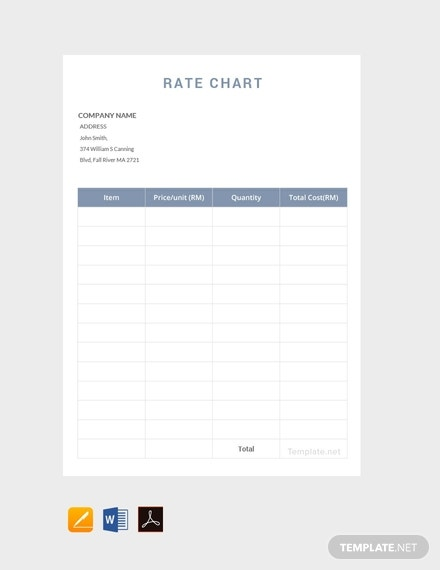 free rate chart template1
