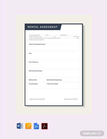 free rental lease agreement template1
