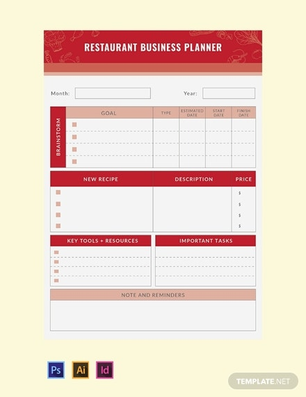 free restaurant business planner template