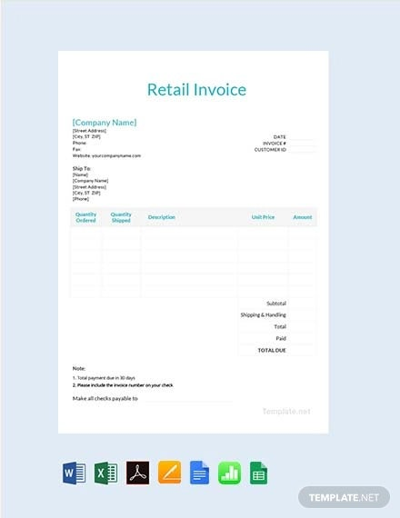 free retail invoice template