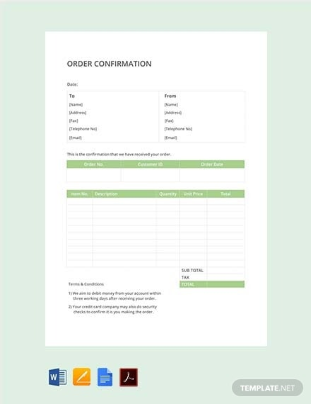 free simple order confirmation template 440