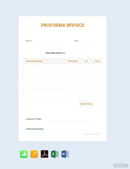 free simple proforma invoice template