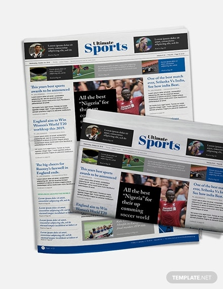 free sports newspaper template 1