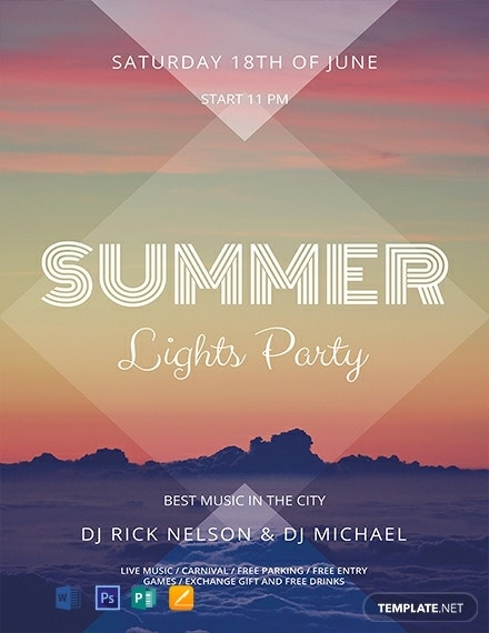 free summer lights flyer template