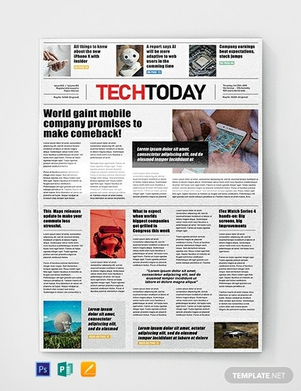 free technology newspaper template