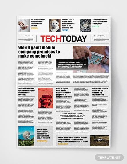 free technology newspaper template1
