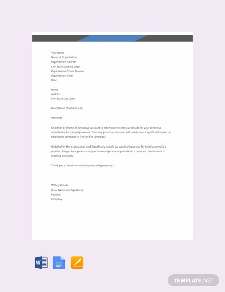 free thank you letter for donation template 440x570 1