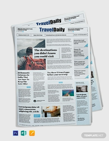 free travel newspaper template
