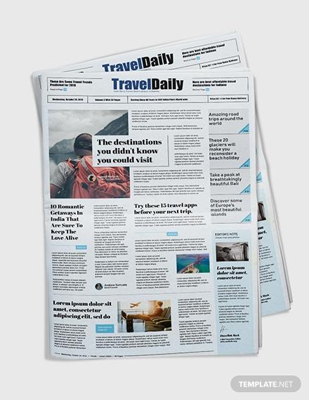 free travel newspaper template