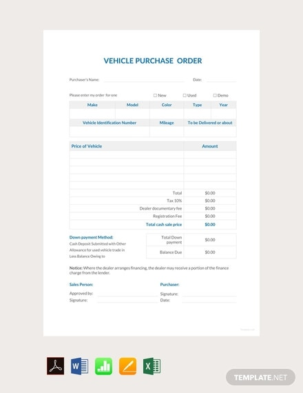 free vehicle purchase order template 440x570 1