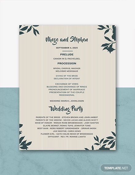 free wedding program templates 1x
