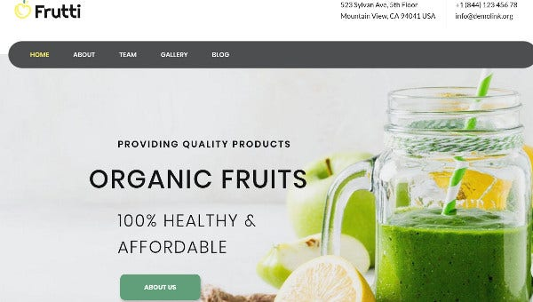 frutti bar elementor page builder wordpress theme