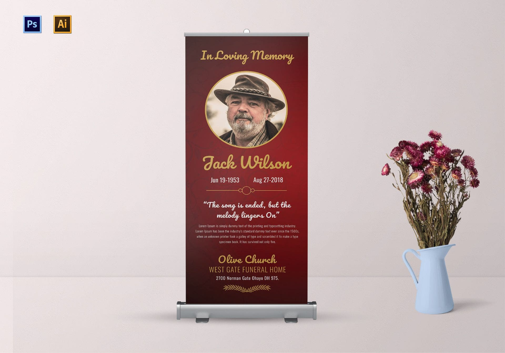 funeral invitation roll up banner example