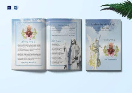 funeral program bi fold invitation template