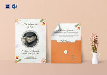funeral program invitation template for celebrities