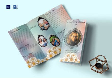 funeral program trifold brochure invitation template
