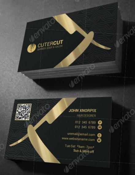 golden cutter barber business card