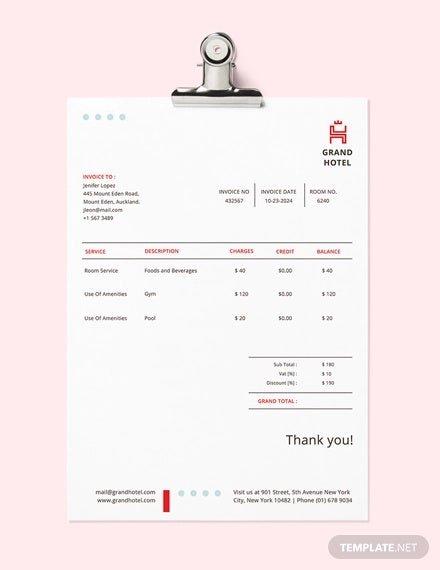 Hotel Invoice Template - 19+ Free Word, Excel, PDF Format Download