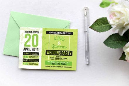 green themed wedding invitation template