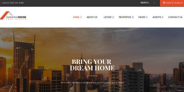 hasara house one click installation wordpress theme1