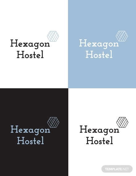 hexagon hostel logo layout
