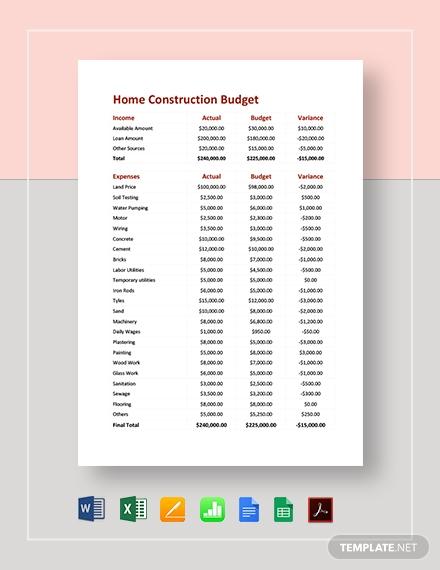 home construction budget 41