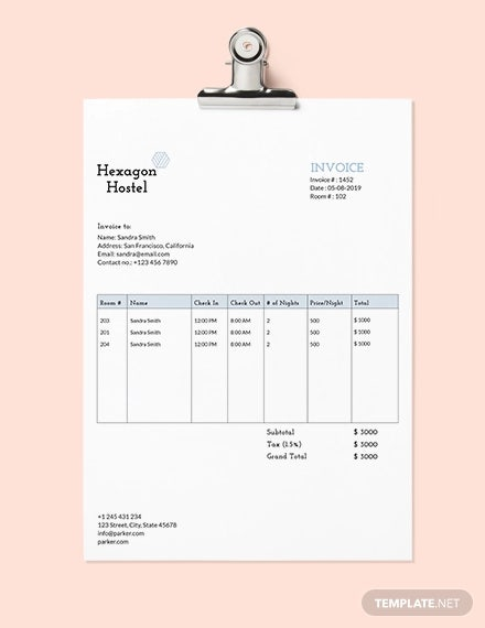 hostel invoice template