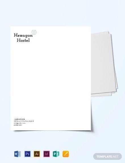 hostel letterhead template