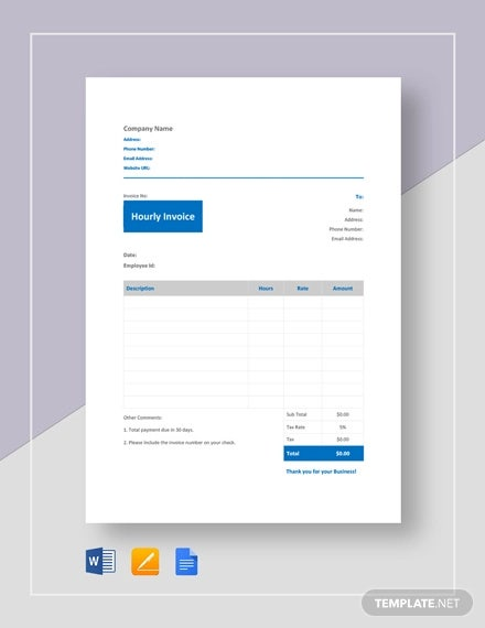 Hourly Invoice Template 6 Free Word Excel Pdf Format Download