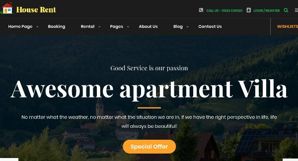 houserent drag and drop page builder wordpress theme