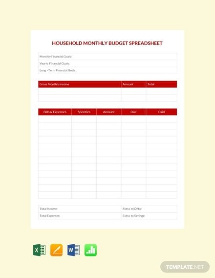 household monthly budget spreadsheet template
