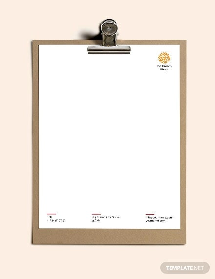 ice cream letterhead template