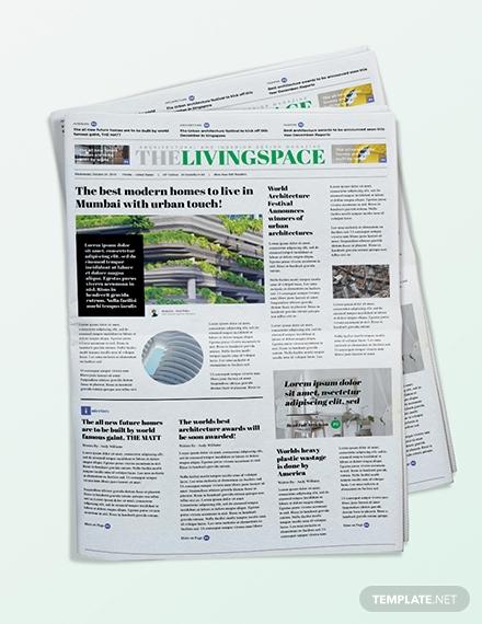 interior design newspaper template