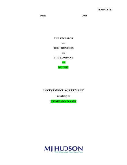 investment agreement template 011
