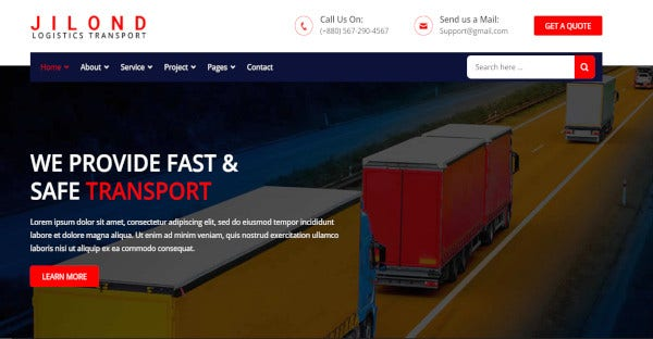 jilond wordpress theme for logistics and transportation