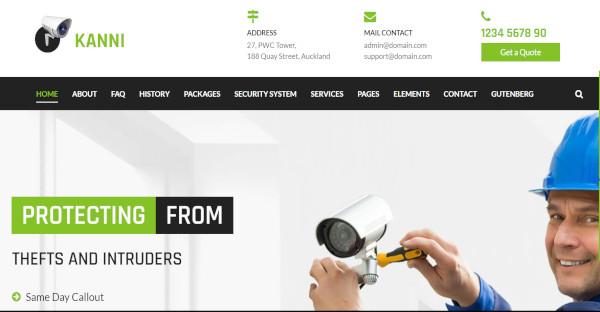 kanni security and surveillance wordpress theme