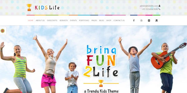 kids life educational wordpress theme