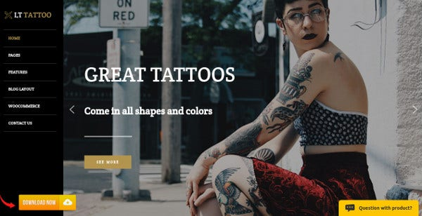 lt tattoo – customized typography wordpress theme