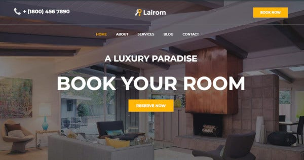 lairom – multipurpose wordpress theme for hotel