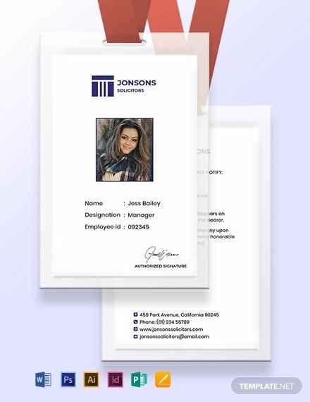 law firm identity card template