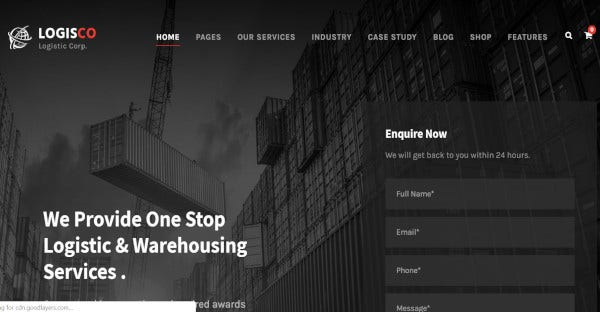 logisco transportation and logistics wordpress theme