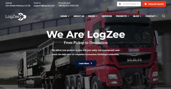 logzee logistic and transportation wordpress theme