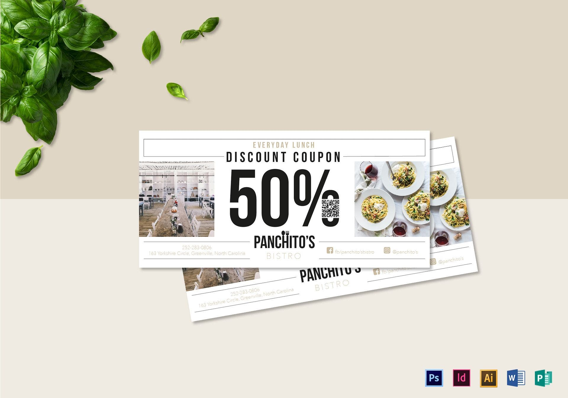 lunch discount coupon layout