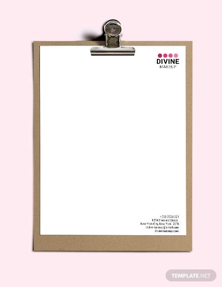 makeup artist letterhead template