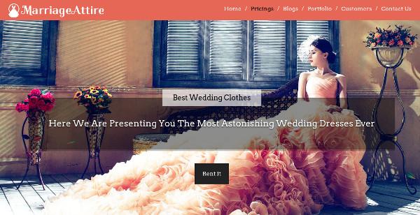 marriage attire one click installation wordpress theme