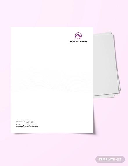 massage letterhead template